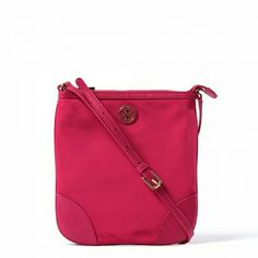 """*5/19 HP!* Tory Burch Dena Cross-body Bag Gorgeous color (Carnation Red), perfect for Spring! Top zipper closure,  gold tone hardware, adjustable cross-body strap. 2 interior slip pockets and 1 zippered pocket. Nylon with Saffiano leather trim, fabric lining. Measures 9""""?9.5""""?1"""". Brand new, with tags, 100% authentic! Tory Burch Bags Crossbody Bags"""