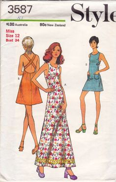 1970s Style 3587 Vintage Sewing Pattern Crossover Back Maxi Dress Pattern Size 12 Bust 34 inches UNCUT Factory Folded