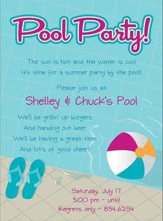 Kids birthday party invitation wet n wild pear tree greetings einladung pool party stopboris Choice Image