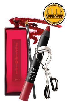 Shiseido Eudermine Revitalizing Essence, Le Metier de Beaute lash curler, Nars Velvet Matte Lip Pencil in Cruella, M.A.C 266 Small Angle Brush
