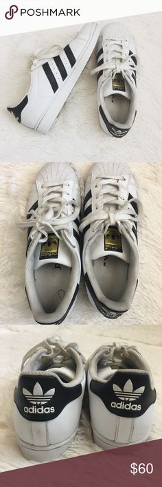 Adidas superstars In great used condition. I bought these used and they do run a bit big. I would recommended these to you if youre an 8.5 A few things to know:  ▫️I'm open to reasonable offers ▫️No holds, first come first serve. ▫️No  trades, No offline transactions. ▫️Please, ask any questions you may have!  Happy Poshing! Adidas Shoes Sneakers