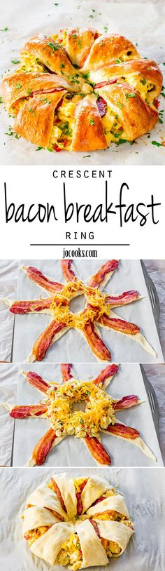 This beautiful Crescent Bacon Breakfast Ring will be everyones weekend breakfast of choice, its loaded with bacon, eggs and cheese. Perfect for brunch as well. white christmas,breakfast and brunch Breakfast And Brunch, Breakfast Desayunos, Breakfast Dishes, Breakfast Recipes, Breakfast Healthy, Breakfast Potatoes, Crescent Roll Breakfast, Birthday Breakfast, Healthy Brunch