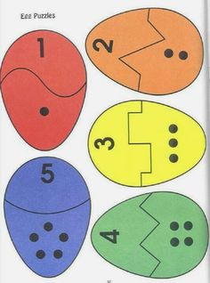 Eggs number Matching/ puzzles de Pâques - My Pin Preschool Worksheets, Preschool Learning, Kindergarten Math, Preschool Crafts, Crafts For Kids, Teaching, Toddler Learning Activities, Easter Activities, Preschool Activities
