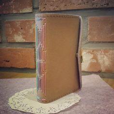 beautiful multicolor long stitch handmade book by Joung Yoon Kim 롱앤스티치바인딩 다이어리 크라프트원단을 이용해 만든 내 다이어리~!!