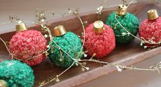 Rice Krispie treat ornaments with rolos as the tops