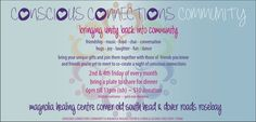 This Friday 27 Sep 6-11pm ish Conscious Connections - Family event - Magnolia Healing Centre, Cnr Old South Head & Dover Rds, Rose Bay