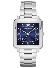 6e63ca96bffd Emporio Armani Men s Stainless Steel Bracelet Watch 38x38mm - Silver  Brazalete De Acero Inoxidable