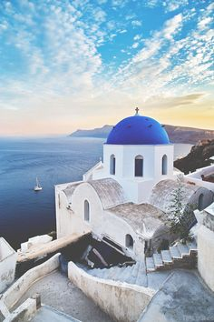 If you see blue domed churches, you're in Santorini. Places To Travel, Places To See, Travel Destinations, Travel Around The World, Around The Worlds, Greece Painting, Santorini Greece, Santorini Island, Mykonos