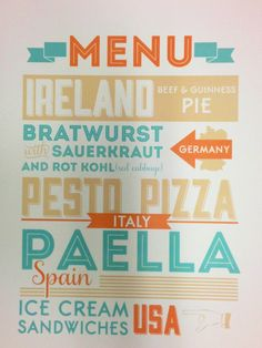 Around the world menu...Use Deb S. idea about different language menu and have kids choose 4 items off of 4 menus, not knowing what they ordered.  Very funny idea.