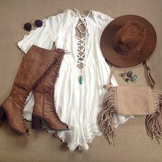 Who's ready for Coachella! Boho Outfits, Spring Outfits, Cute Outfits, Fashion Outfits, Coachella, Hippie Boho, Mode Country, Boho Fashion, Womens Fashion