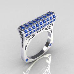 Modern Persian 14K White Gold 0.73 CTW Blue Diamond Designer Ring R103-14KWGBD on Wanelo