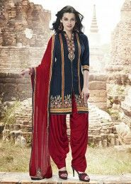 Casual Wear  Cotton Grey Embroidered Work Patiala Suit