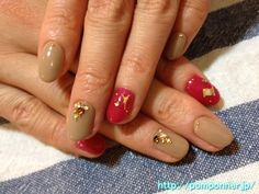 Paint the entire nail red pink beige and relaxing  落ち着いたベージュとピンクレッドの全体塗りネイル