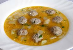 Kohlrabi soup with meatballs - Karalábéleves húsgombóccal - Gyergyói Ízőrző Hungarian Cuisine, Hungarian Recipes, Hungarian Food, My Recipes, Soup Recipes, Cooking Recipes, Soups And Stews, Curry, Diet