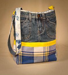 Denim Do Over | Make a Denim and Plaid Purse From Jeans | http://www.denimdoover.com