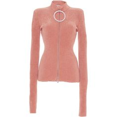 Emilio Pucci Ribbed Rhinestone Zipper Sweater ($1,500) ❤ liked on Polyvore featuring tops, sweaters, pink, rhinestone tops, rhinestone sweater, ribbed sweater, rib sweater and pink sweater