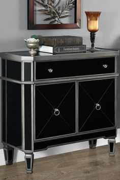Brushed Charcoal Grey/Black Mirrored Accent Table on @HauteLook