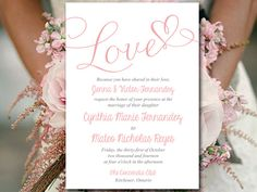"""Printable Wedding Invitation Template - Heart Invitation Wedding Template - """"Love"""" Script Blush Wedding Invitation Card Download by PaintTheDayDesigns on Etsy"""