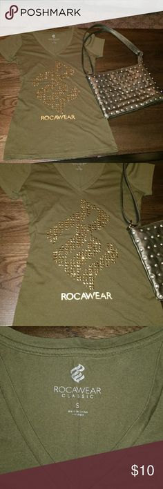 New Army green Studded Tee Army green Tee is new without tags.  Has gold studs and diverse in gold. Purse shown in picture is for sale in my closet. Rocawear Tops Tees - Short Sleeve
