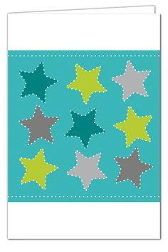 Sterngrüße zum Prickeln - Türkis - Weihnachtskarte mit grünem Umschlag
