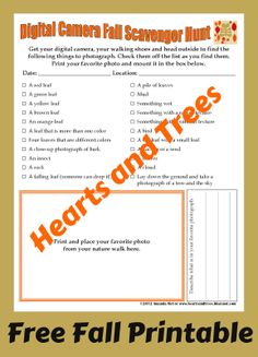 Hearts and Trees has a new printable! Digital Camera Fall Scavenger Hunt! Print and share with the OHC!