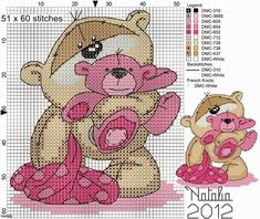 Dinha Ponto Cruz: Ursinhos baby ponto cruz