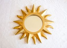 Gold Resin Sun Ray Mirror, Bohemian Decor