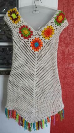 Crochet Patterns Wear This Pin was discovered by celia.) your own Pins on Pinteres… Beach Dress Made to Order in a / One Planet Photos Crochet Yoke, Crochet Shirt, Crochet Cardigan, Crochet Granny, Crochet Bikini, Knitting Patterns, Crochet Patterns, Diy Crafts Crochet, Crochet Fashion