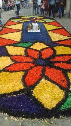 Alfombra para procesión de San Bartolo hecha de viruta - Antigua Guatemala en Sacatepéquez