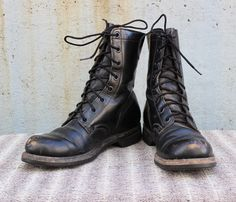 Vintage Military Combat Boots Unisex Adults Black Leather Lace Up Boots Gothic Goth VTG VG Biltrite Size 7 Men's 9 Women's by foxandfawns on Etsy
