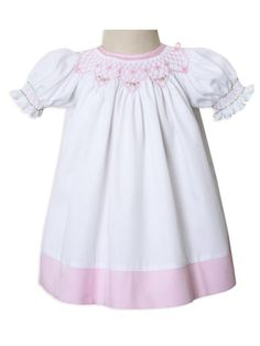 Carouselwear New Born Baby, Girls White and Pink Smocked Portrait Bisho Dress Up to Size 8 Baby Girl Pink Dress, Girls White Dress, Girls Party Dress, White Girls, Baby Girls, Toddler Girls, Girls Smocked Dresses, Tan Dresses, Tight Dresses