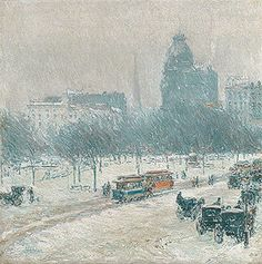 Winter in Union Square, 1889–90  Childe Hassam (American, 1859–1935)  Oil on canvas  18 1/4 x 18 in. (46.4 x 45.7 cm)