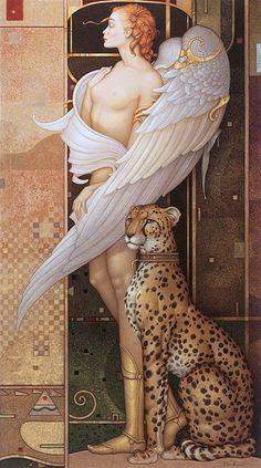Parkes, Michael (b,1944)- Angel w Cheetah (Gold Angel)