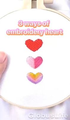 Embroidery Hearts, Hand Embroidery Videos, Embroidery Stitches Tutorial, Flower Embroidery Designs, Machine Embroidery Projects, Creative Embroidery, Simple Embroidery, Hand Embroidery Stitches, Embroidery Kits