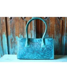 Cowgirl Chic!  Juan Antonio Tooled Leather Turquoise Purse