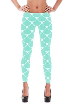 Blue Mermaid fish scale leggings. Shiny, durable and hot. These polyester/spandex leggings will never lose their stretch and provide that support and comfort you love in unique designs. Made of polyes