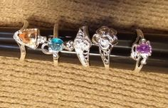 Lot of 5 Size 6 1/2 6.5 Sterling Silver Rings marked 925 Plate Christmas Present