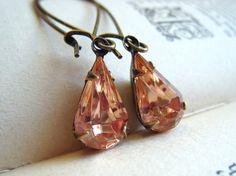 Dried Roses. Vintage Rosaline Jewel Earrings $16