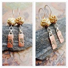 Bone Rose, Copper, Bone, and Silver Earrings, ThePurpleLilyDesigns by ThePurpleLilyDesigns on Etsy