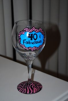 glass painting 40 birthday party gift