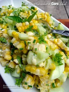 Basil Chive Cucumber & Corn Salad by sumptuousspoonfuls -- Bring on the Spring/Summer recipes! Cucumber Recipes, Veggie Recipes, Salad Recipes, Vegetarian Recipes, Cooking Recipes, Healthy Recipes, Summer Vegetable Recipes, Recipes With Cucumbers, Corn And Cucumber Salad Recipe