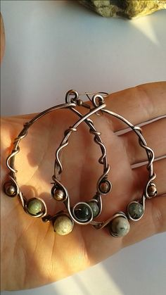 Copper wire wrapped hoop earrings with natural gemstones.Custom ordered…