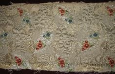 Stunning Antique French Brocade Lampas Fabric w Flowers by RuinsCa, $85.00