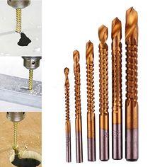 6 unids/set titanium coated broca set agujero de acero de alta velocidad cutter carpintería herramienta 3-8mm