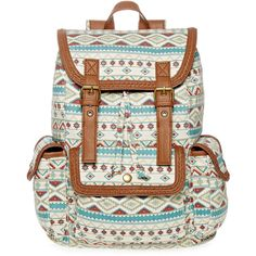 SM New York Floral Print Cargo Backpack ($30) ❤ liked on Polyvore featuring bags, backpacks, accessories, drawstring backpack, white drawstring backpack, floral rucksack, flower print backpack and cargo backpack