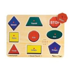 Shape and Sound puzzle which plays realistic sounds when correct shape is inserted.
