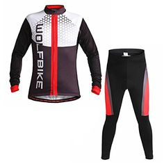 Biking Jersey and Long Pants Fleece thermal Cycling Shirts and Padded Shorts Windproof Jackets Red OW256 3XL -- Click on the image for additional details.