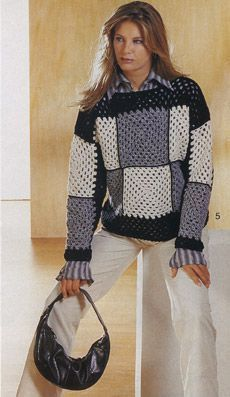 Granny square pullover with diagrams: