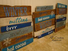 A~F Creations: Winter Pallet Signs Pallet Christmas, Christmas Signs, Christmas Projects, Christmas Ideas, Xmas, Holiday Ideas, Christmas Decor, Christmas Vinyl, Woodland Christmas