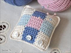 I've no stitchy finishes to show as I haven't done any stitching for weeks, but I have had my crochet hooks out! Crochet Home, Love Crochet, Crochet Gifts, Crochet Baby, Knit Crochet, Crochet Pincushion, Crochet Potholders, Sewing Accessories, Pin Cushions